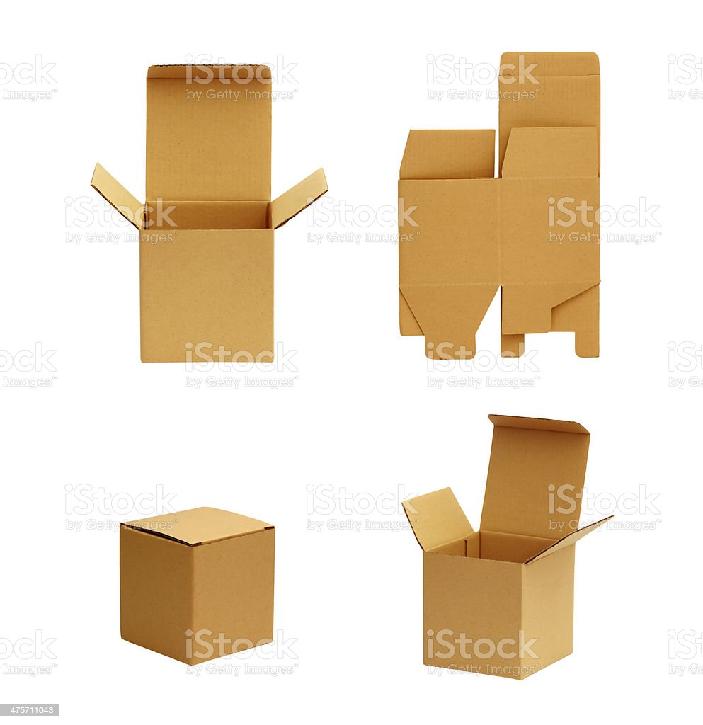 cardboard box isolated on white royalty-free stock photo