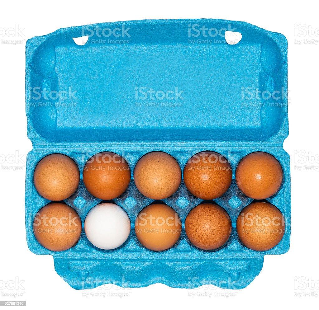Cardboard box of eggs stock photo