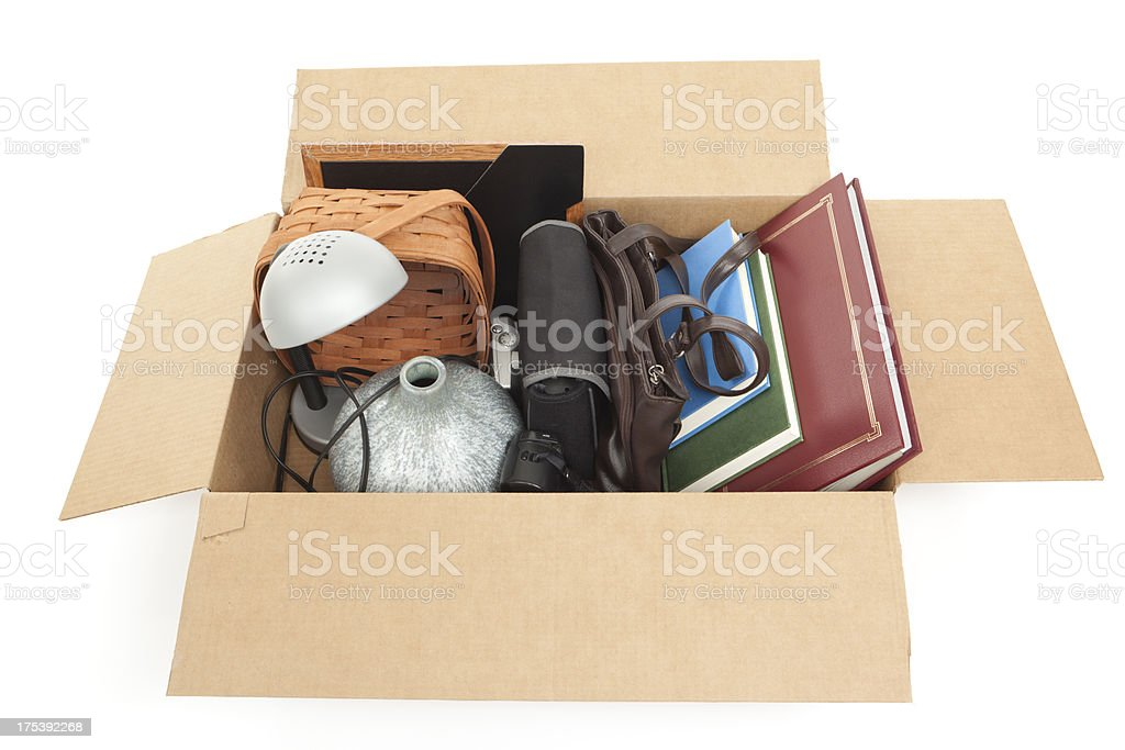Cardboard Box of Household Items royalty-free stock photo