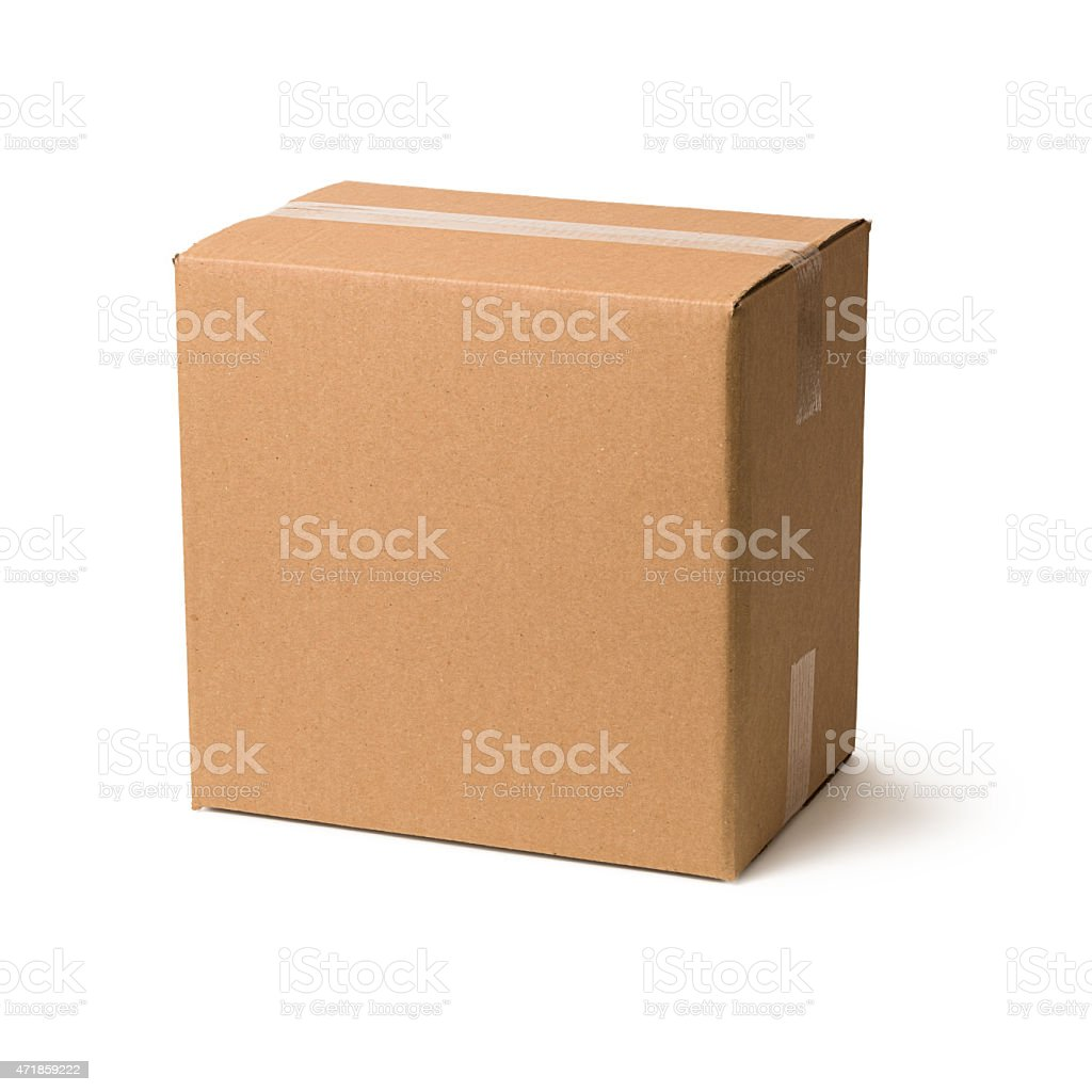 Cardboard box on white background stock photo