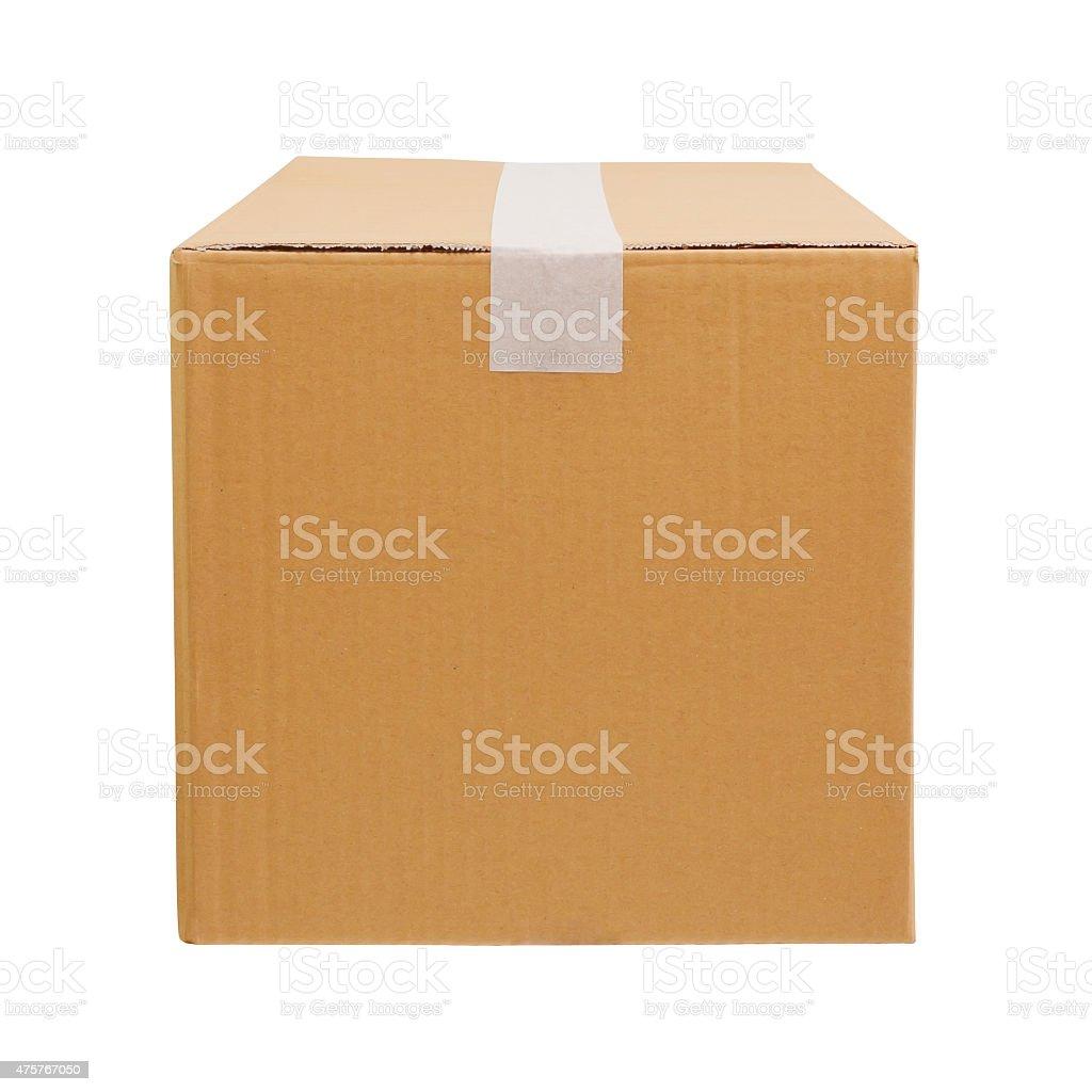 Cardboard box on white background stock photo