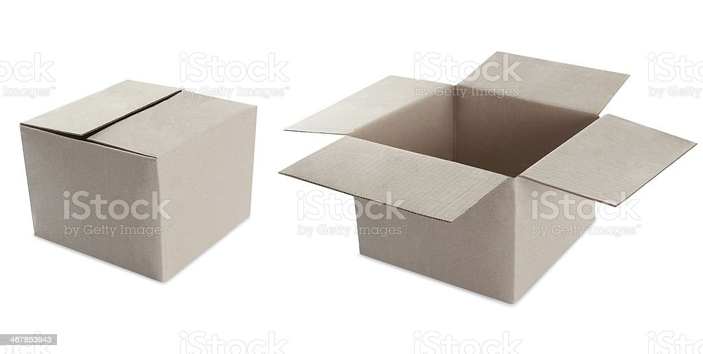 Cardboard box on white. open and closed stock photo