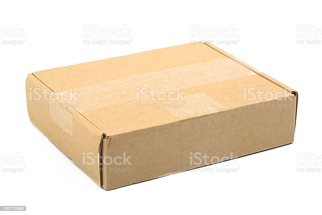 Cardboard Box on White stock photo