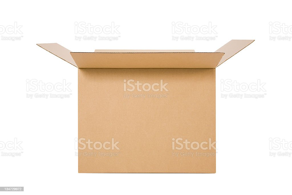 cardboard box open - clipping path royalty-free stock photo