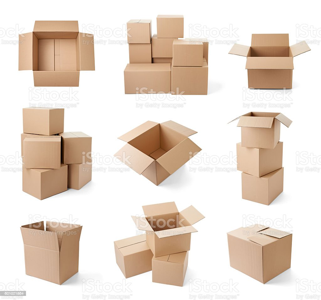cardboard box package moving transportation delivery stock photo