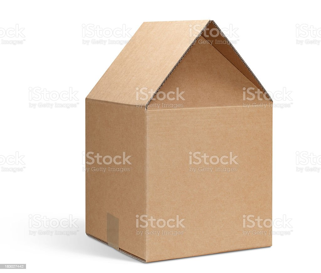 Cardboard box shaped house. stock photo