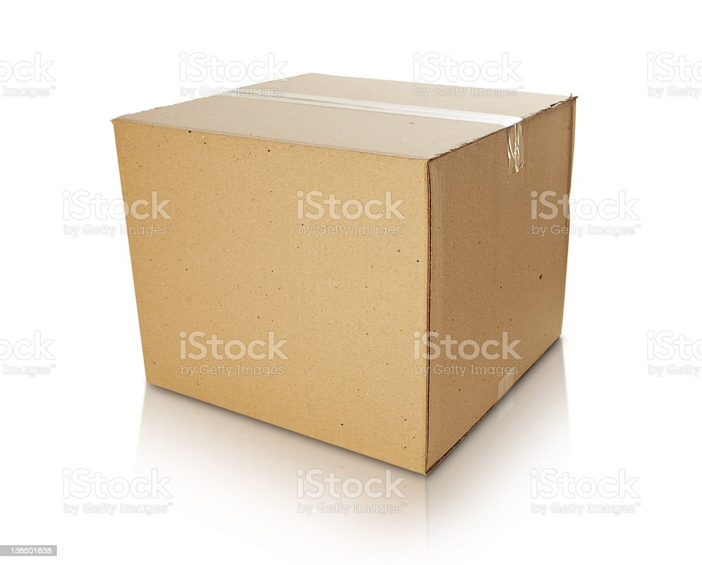 Cardboard box, taped up on white background stock photo