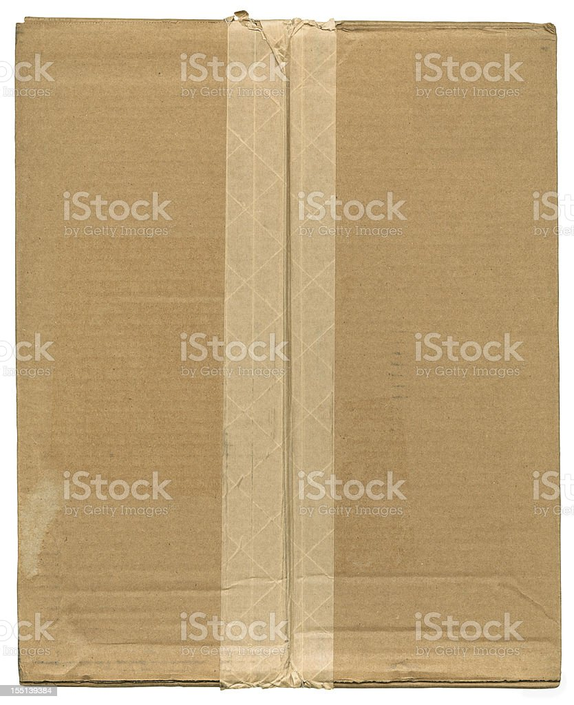 Cardboard Box Top With Fiber Reinforced Brown Shipping Tape royalty-free stock photo