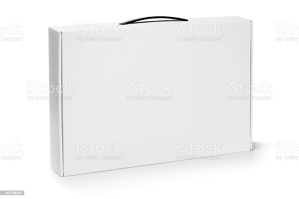 Cardboard box with a handle stock photo