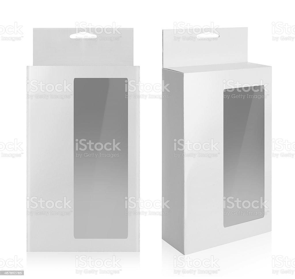 cardboard box with a transparent plastic window stock photo