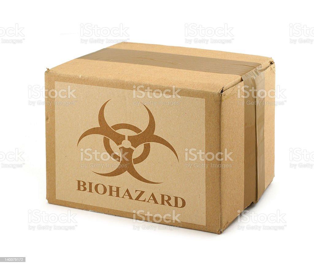 cardboard box with Biohazard Symbol #2 stock photo