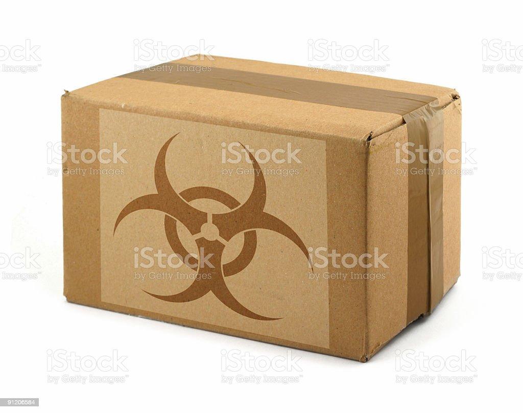 cardboard box with Biohazard Symbol stock photo