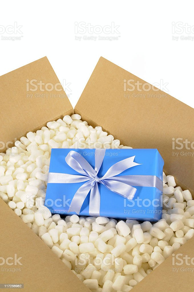 Cardboard box with blue gift royalty-free stock photo