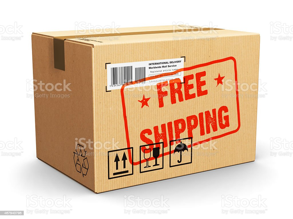 Cardboard box with Free Shipping stamp stock photo