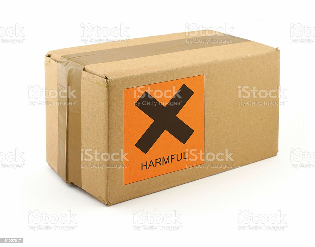 cardboard box with harmful content stock photo