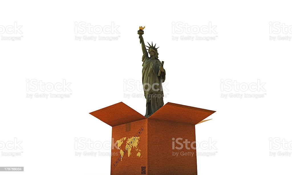 cardboard box with liberty statue royalty-free stock photo