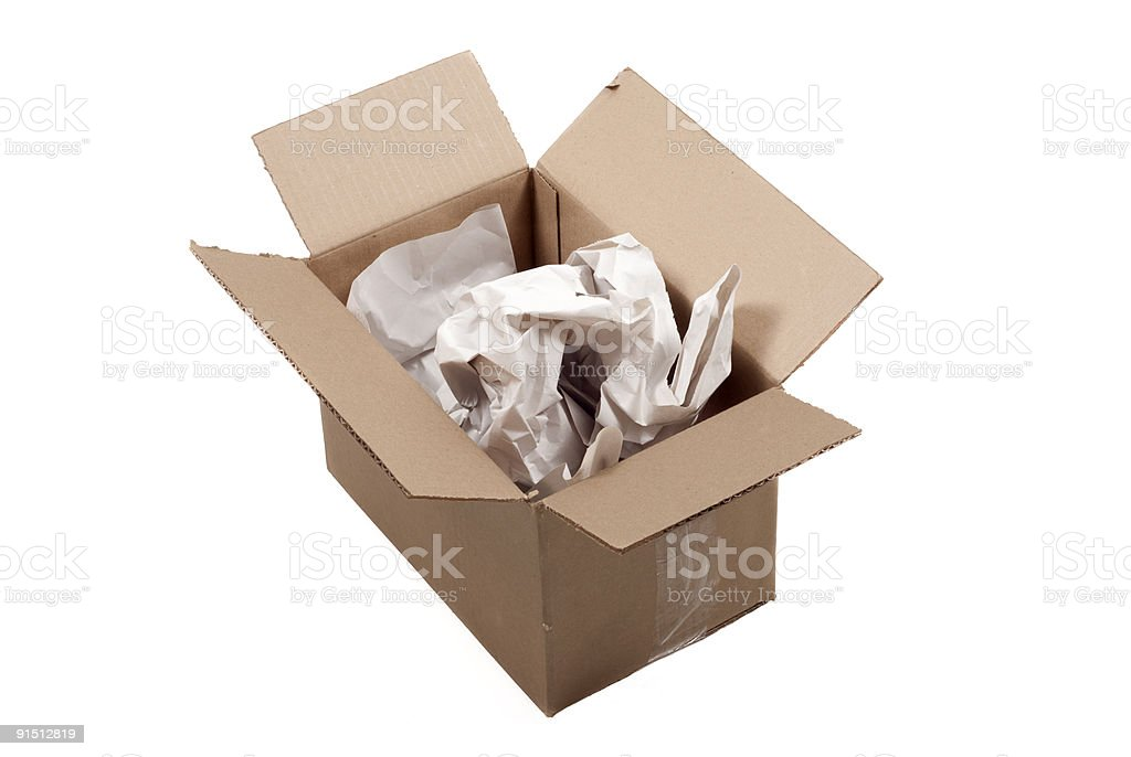 Cardboard box with packing material stock photo