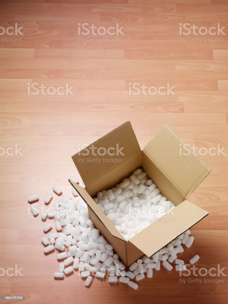 Cardboard Box with Polystyrene Packaging stock photo