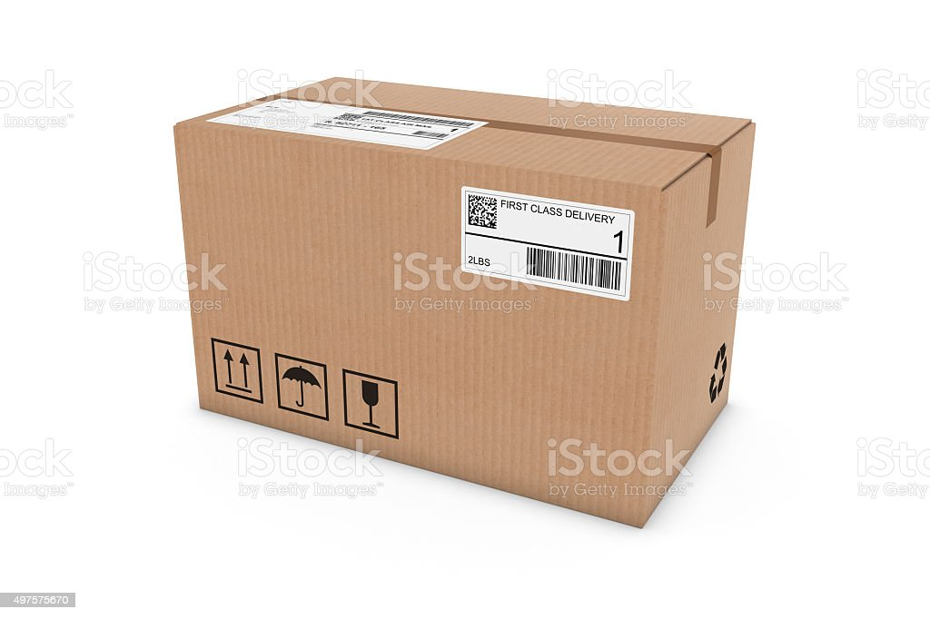 Cardboard Box with Shipping Labels Isolated on White Background stock photo