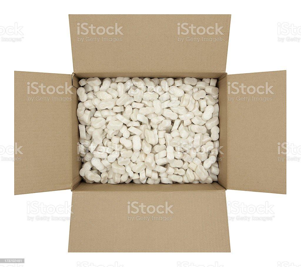 Cardboard Box with Shipping Peanuts stock photo