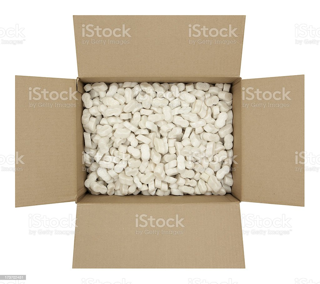 Cardboard Box with Shipping Peanuts stock photo