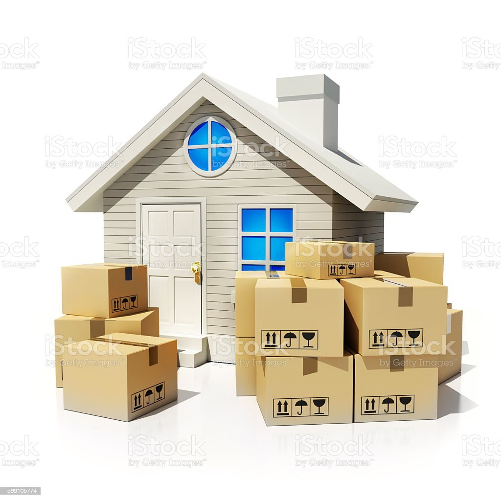 Cardboard boxes and home stock photo