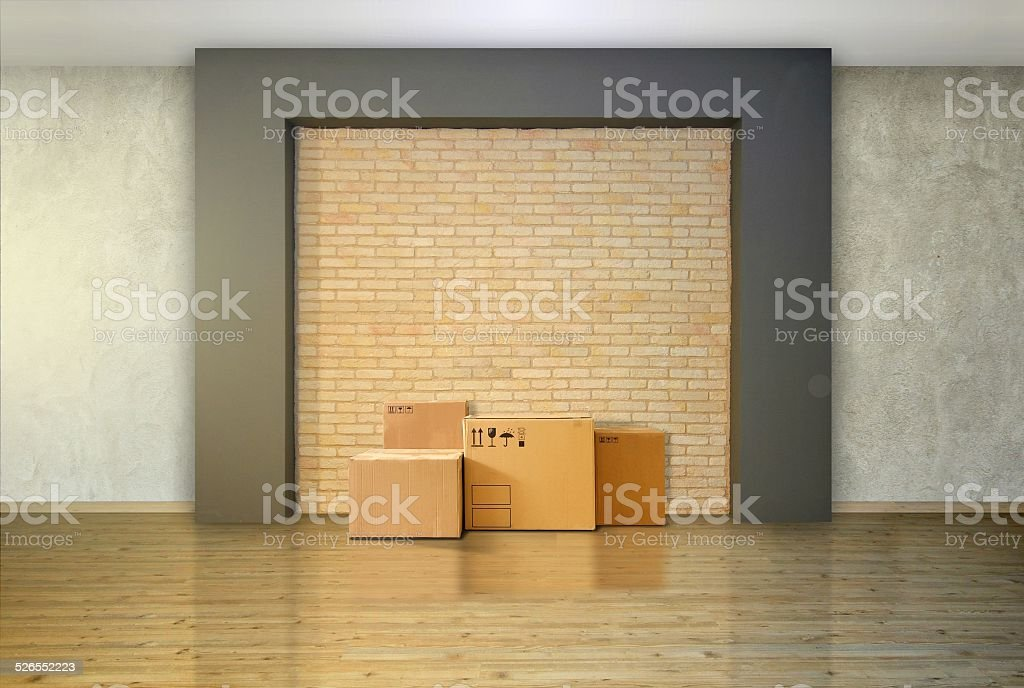 Cardboard Boxes at the Empty Floor stock photo