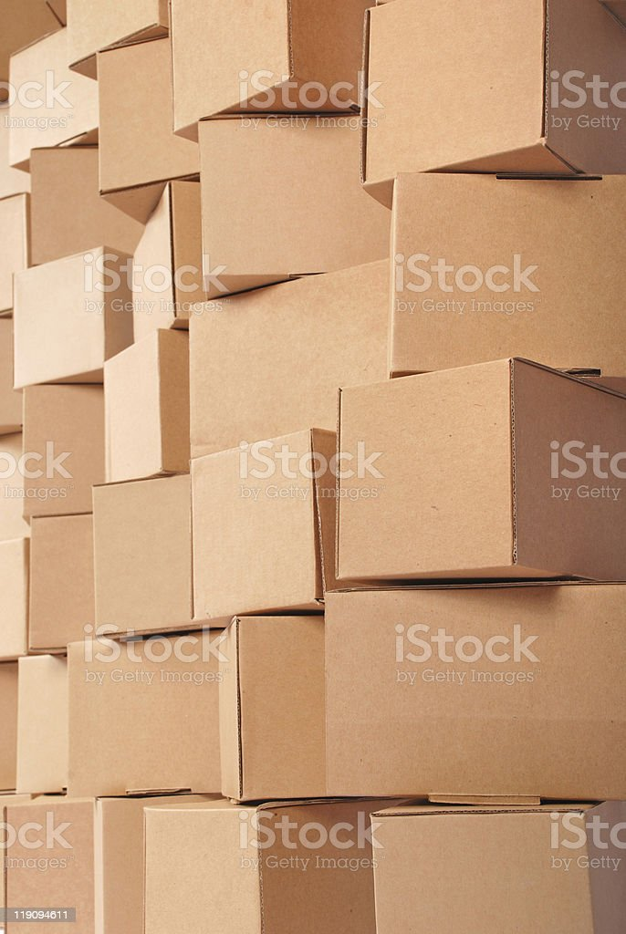 Cardboard boxes background royalty-free stock photo
