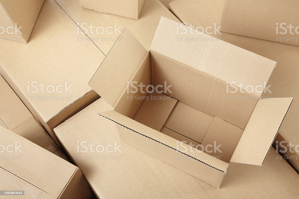 Cardboard boxes background stock photo