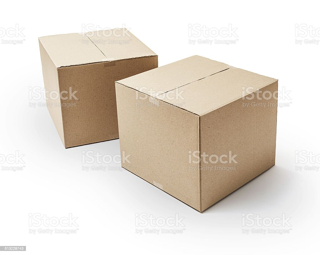 Cardboard boxes -Clipping Path stock photo