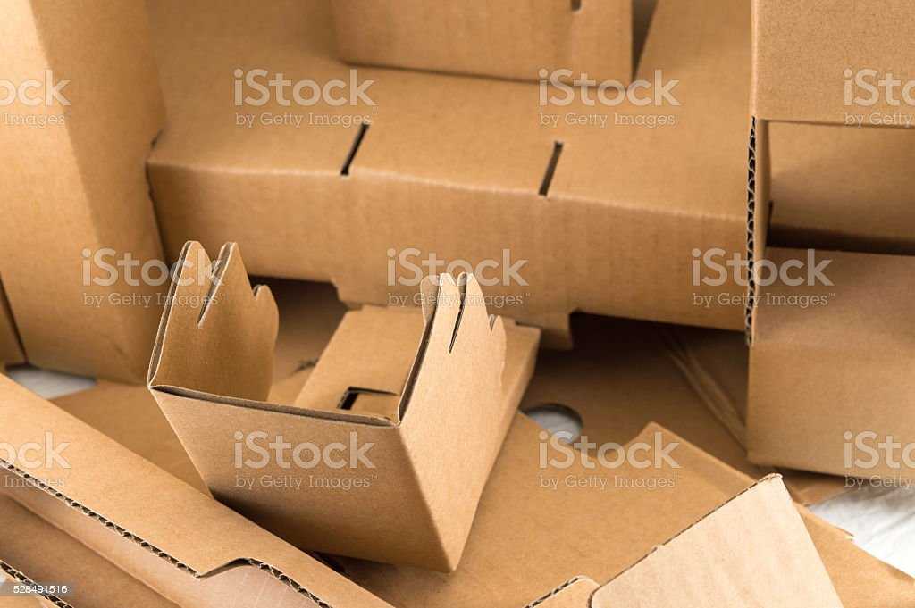 Cardboard boxes in a pile stock photo