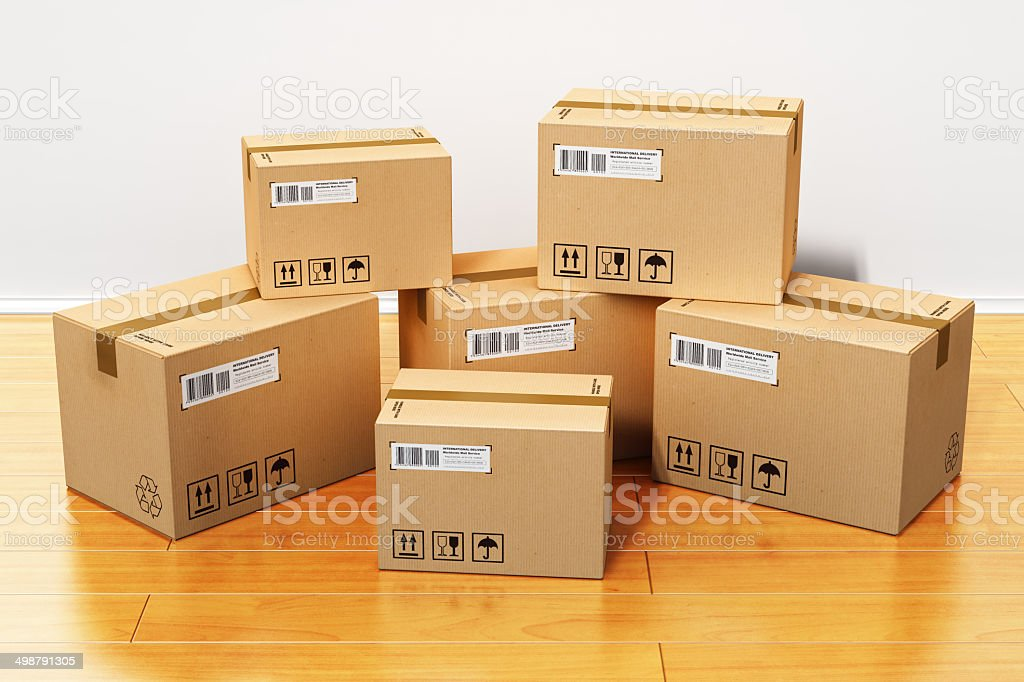 Cardboard boxes in new house stock photo