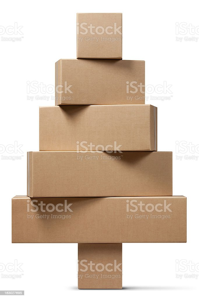 Cardboard boxes in the shape of a Christmas tree stock photo