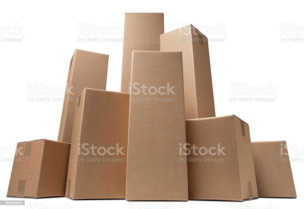 Cardboard boxes like a city royalty-free stock photo