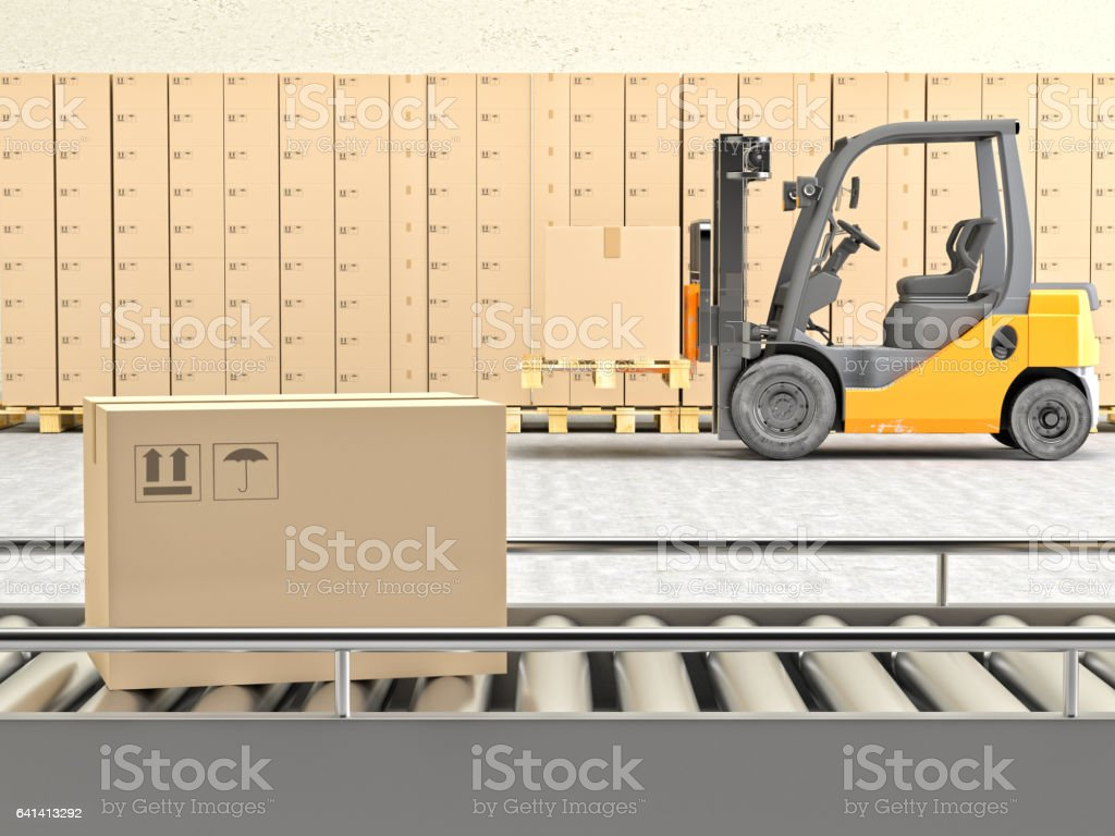 Cardboard boxes on conveyor belt with Forklift stock photo