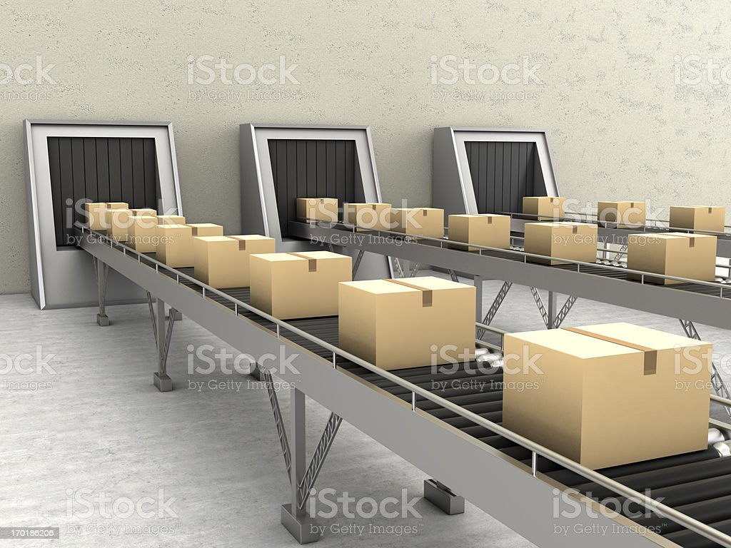Cardboard Boxes on Conveyor stock photo