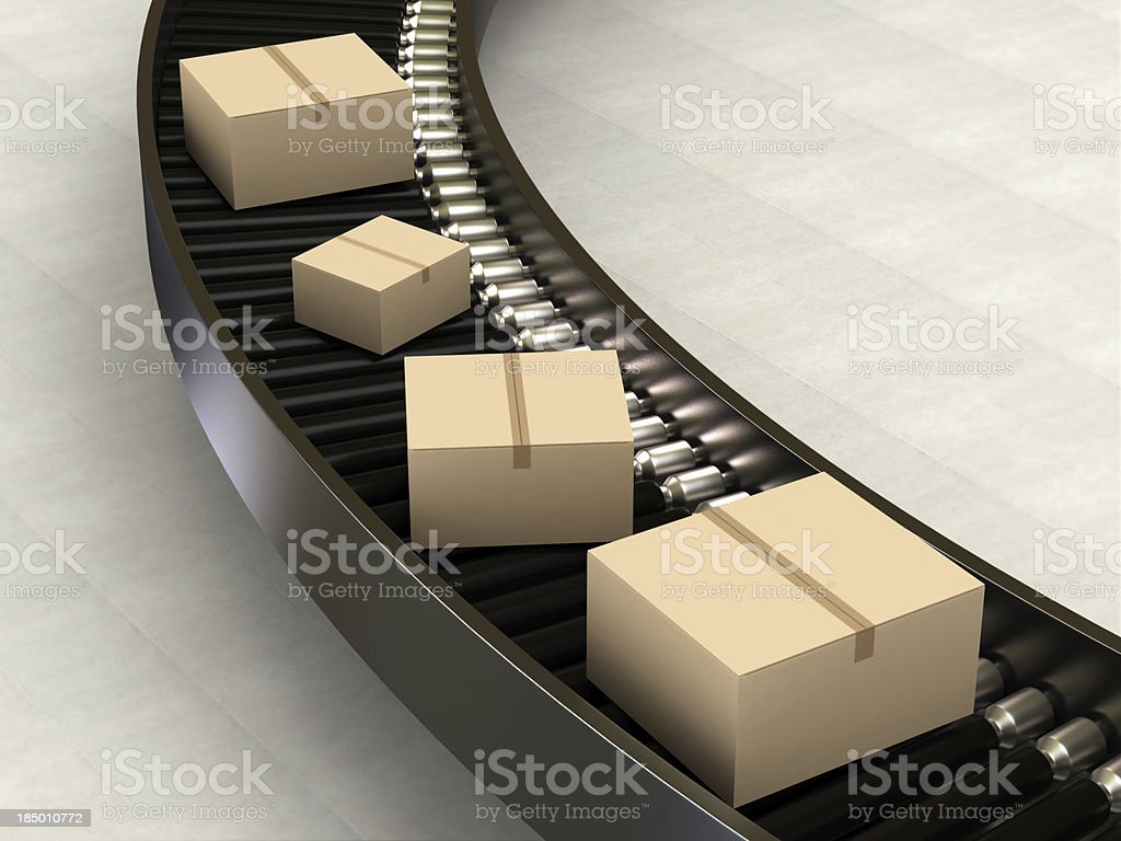Cardboard Boxes on Conveyor royalty-free stock photo