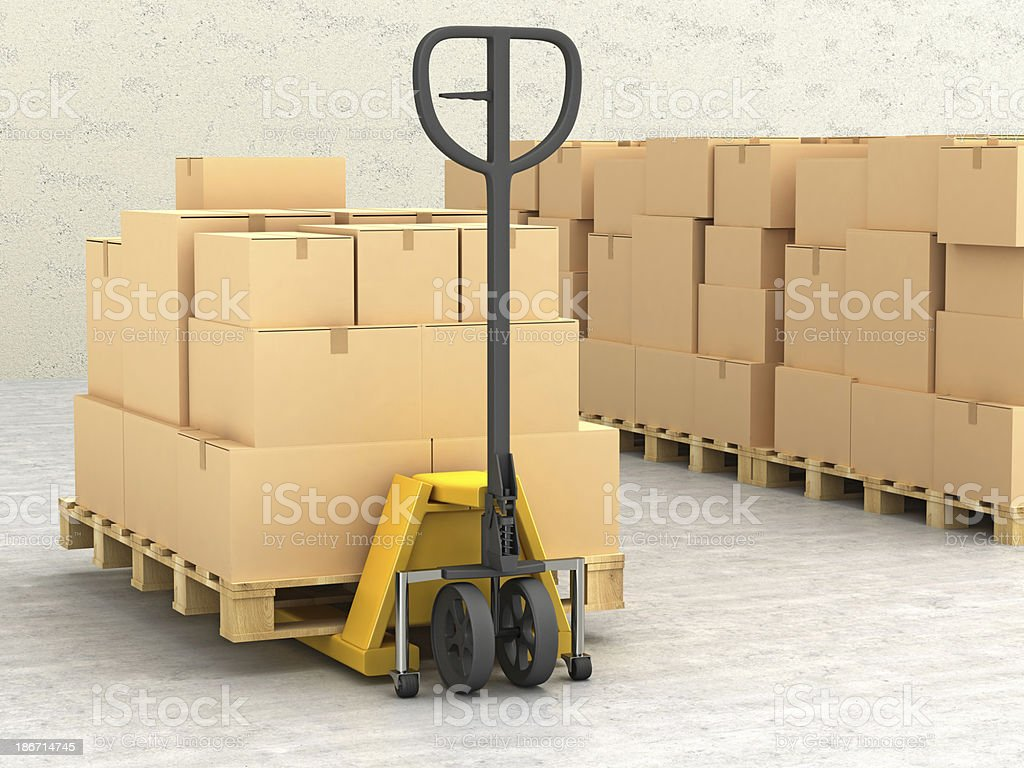 Cardboard Boxes on Conveyor royalty-free stock photo