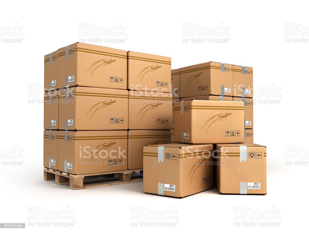 Cardboard boxes on pallet isolated on white, delivery and transp stock photo