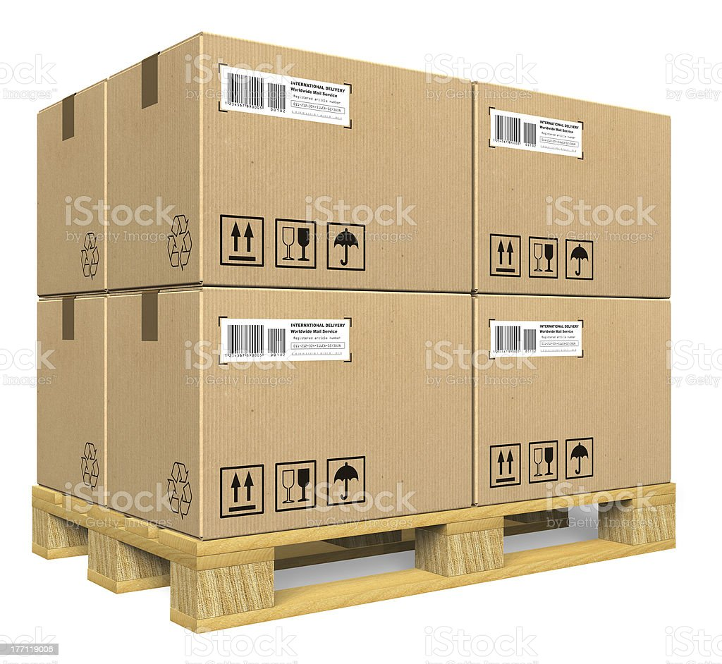 Cardboard boxes on pallet royalty-free stock photo