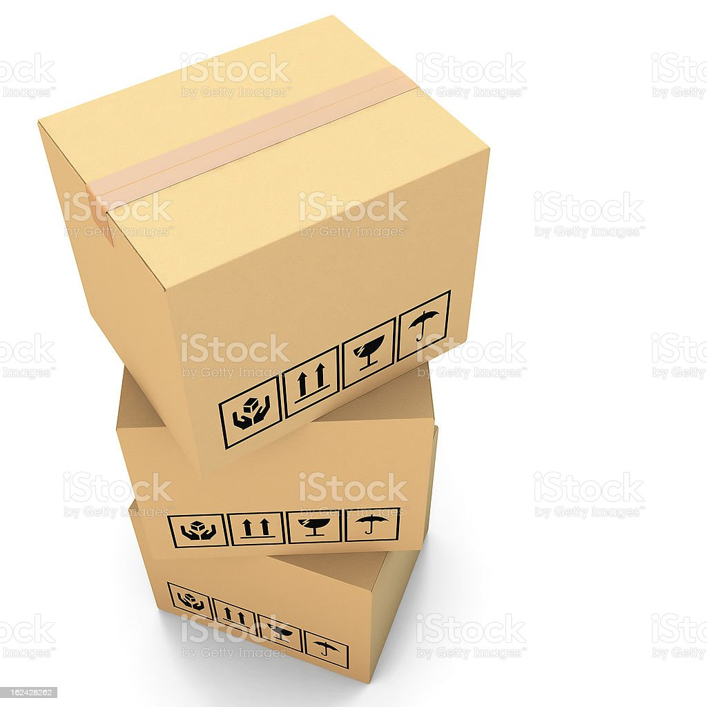Cardboard boxes on white background 3d illustration royalty-free stock photo