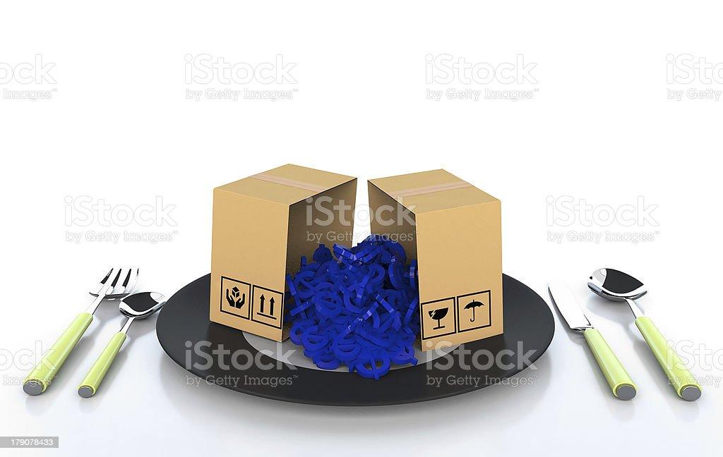 Cardboard boxes on white background 3d illustration stock photo