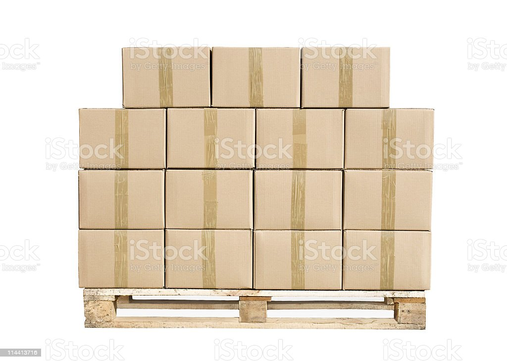 Cardboard boxes on wooden pallet stock photo