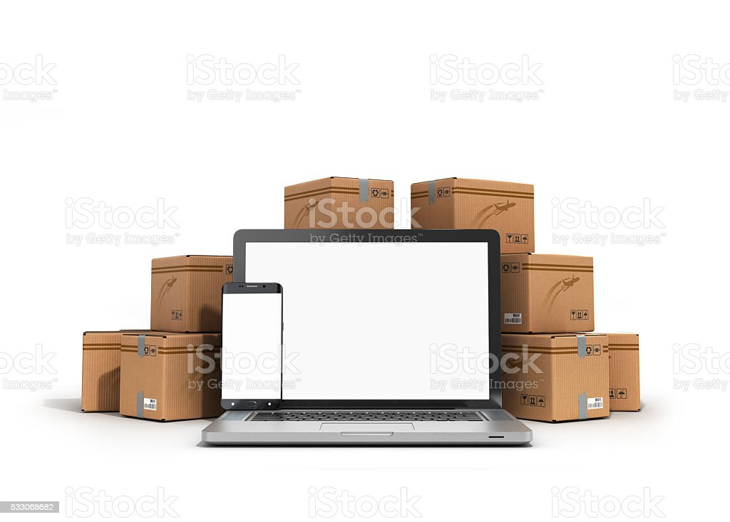 cardboard boxes package parcels and laptop - Logistic, cargo, de stock photo