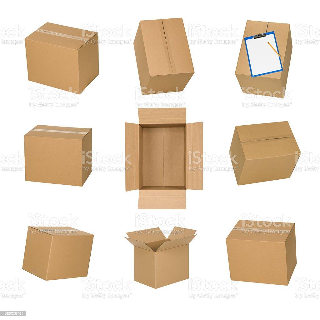 Cardboard boxes set isolated on white background. stock photo