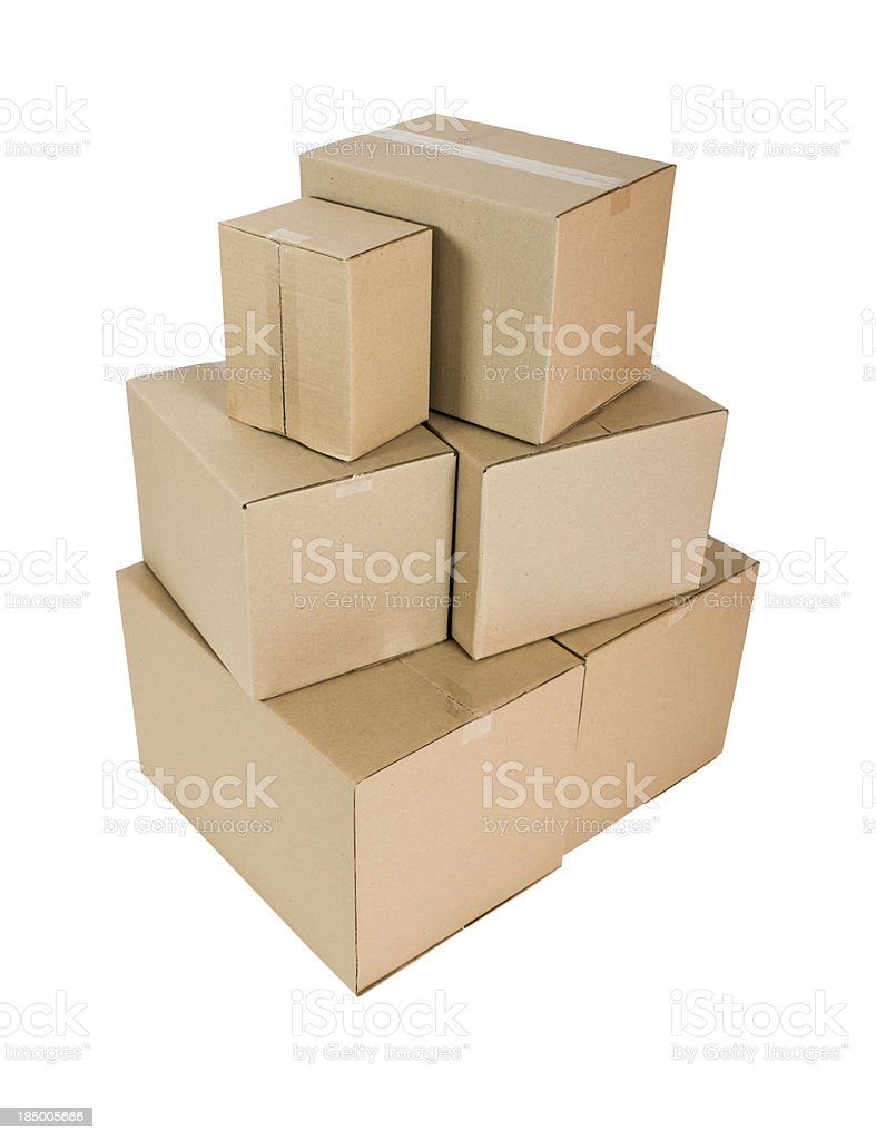 Cardboard Boxes with clipping path royalty-free stock photo