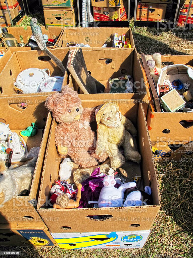 Cardboard boxes with teddy bears for sale at Flea Market stock photo