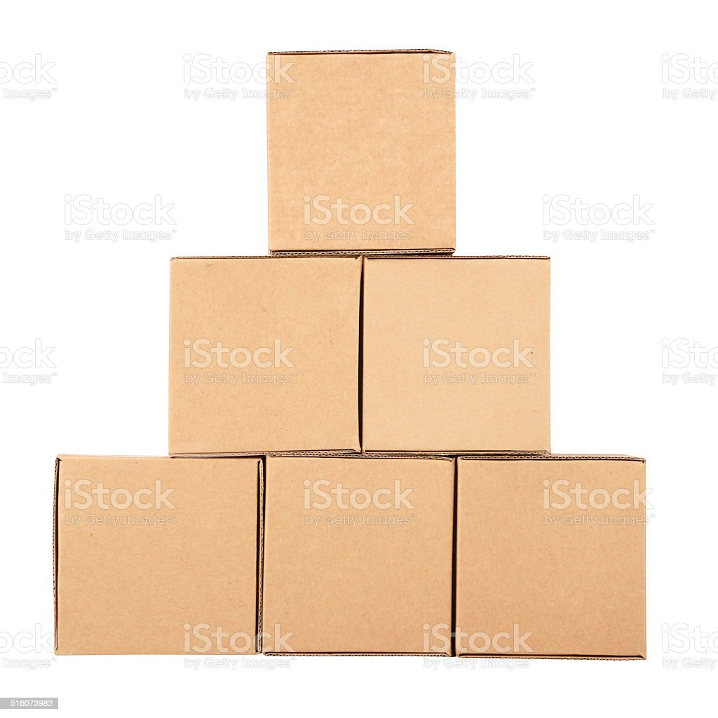 Cardboard boxes.Pyramid from boxes stock photo
