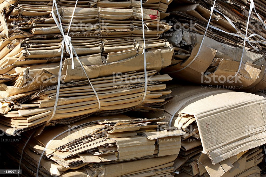 Cardboard bundles for recycling stock photo