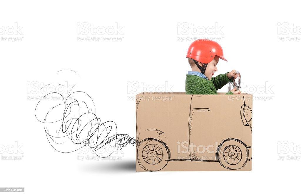 Cardboard car stock photo